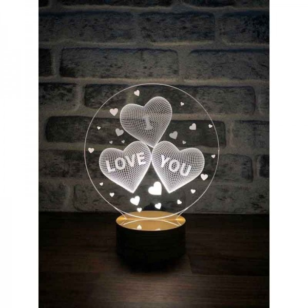 3D I Love You Lamp