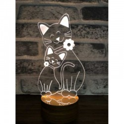 3D Cat Family Lamp