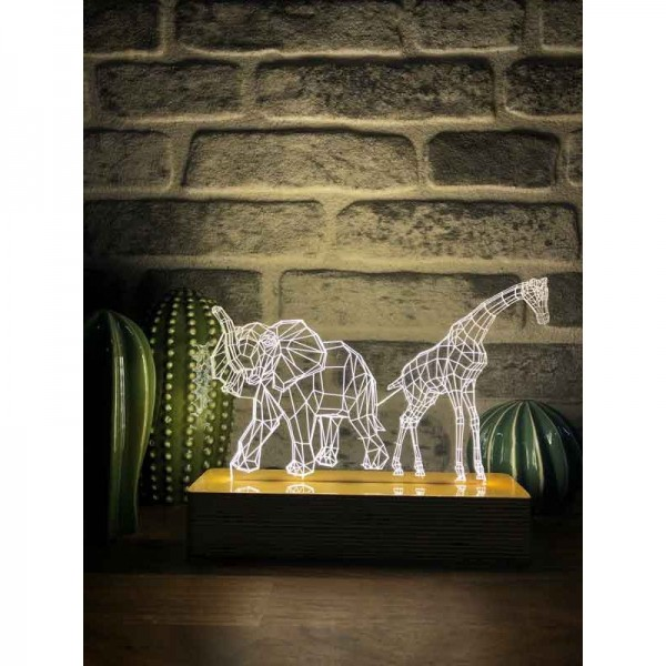 3D Elephant and Giraffe Lamp