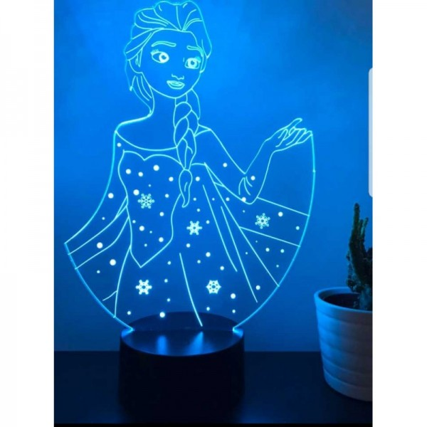 3D Elsa Snow Queen Lamp