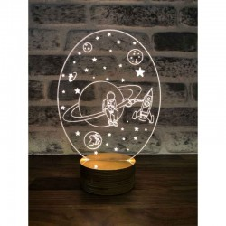 3D Saturn and Astronaut Lamp