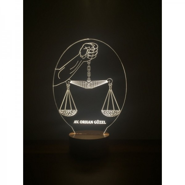 3D Scales of Justice Lamp