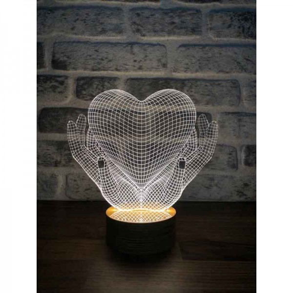 3D Heart and Hands Lamp
