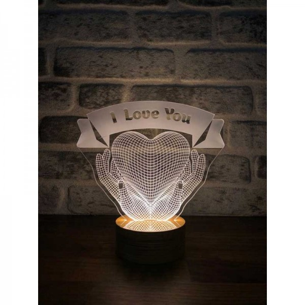 3D Heart Hands Name Lamp