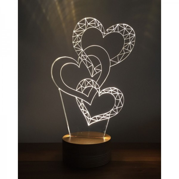 3D Chained Hearts Lamp