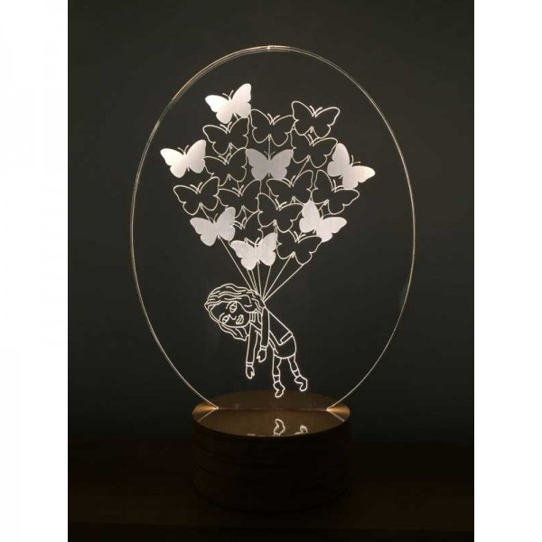 3D Girl with Butterflies Lamp