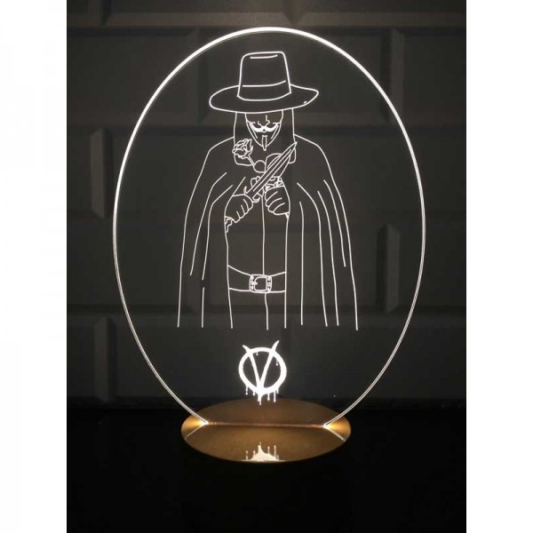 3D V For Vendetta Lamp
