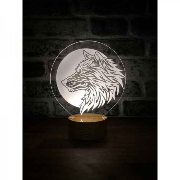 Wolf and Moon Lamp