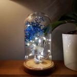 Blue Ear Elephant and Flower Figured Bell Glass Lamp