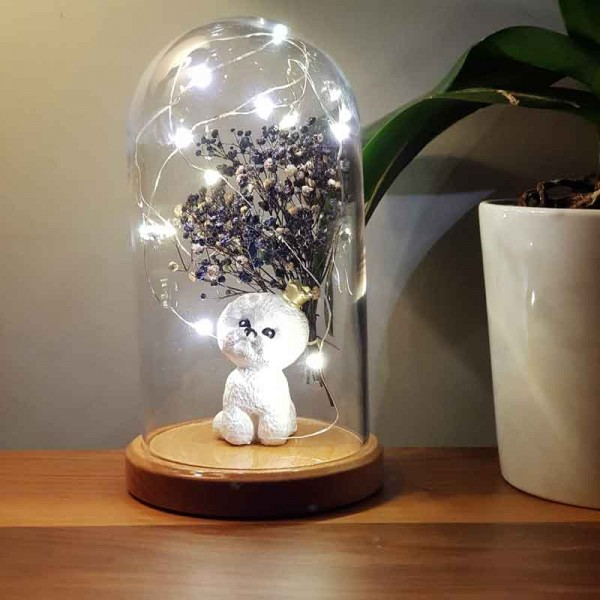 Cute Dog and Flower Figured Bell Glass Lamp