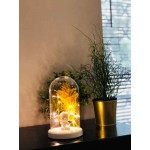Elephant and Flower Figured Bell Glass Lamp