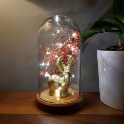 Gold Deer and Flower Figured Bell Glass Lamp
