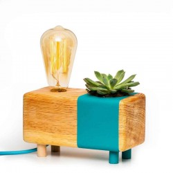 Cyan Table Lamp with Cactus
