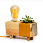 Mustard Table Lamp with Cactus