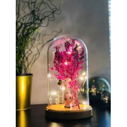 Pink Giraffe and Flower Figured Bell Glass Lamp
