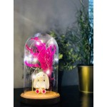 Rabbit and Flower Figured Bell Glass Lamp