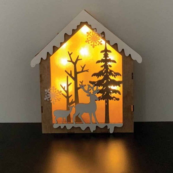 Wooden House Led Light Board