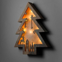 Wooden Pine Tree Led Light Board