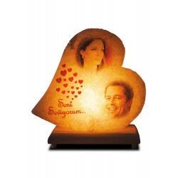 Picture Printed Heart Salt Lamp