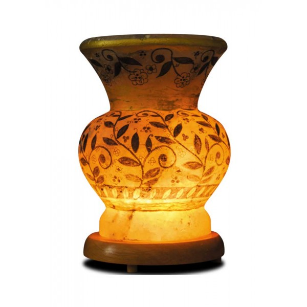 Flower Motif Vase Salt Lamp